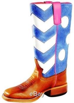 Macie Bean Western Boot Girls Chevron Polka Dots 13 Child Brown MK9068