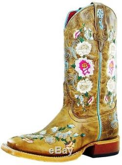 Macie Bean Western Boots Girl Leather Cowboy Floral Rose Garden MK9012