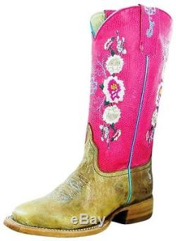 Macie Bean Western Boots Girls Cowboy Kids Rose Lizard Tan MK7047