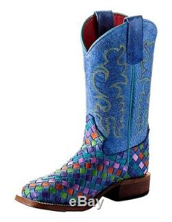 Macie Bean Western Boots Girls Kids Weave Roper Tutti Fruitti MK9087