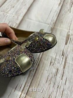 Marc Jacobs Girls Multicolor Glitter Mouse Flat Shoes US 12 EU 30 Gold Trim