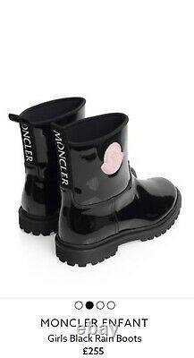 Moncler Girls Junior Black Leather Rain Boots Shoes Size 5