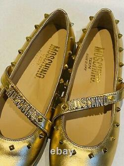 Moschino Girls Gold Studded Diamonte Shoes New In Box Size 31