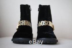 Moschino Kid-teen Girls Black Velvet & Gold Boots Eu 28 Uk 10