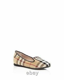 NEW $240 Burberry Girls Check Ballet Flat Dress Shoes, Size EUR 33C / US 2C