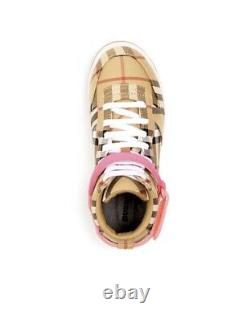 NEW $240 Burberry Girls Groves Vintage High-Top Sneakers Shoes, US 3.5C / EU 35