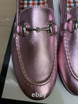 NEW Auth Gucci Youth Kids Girls Princetown Metallic Leather Shoes 1 / 32 $390