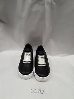 NEW Fendi Girls Black gold scalloped logo sneakers slip on shoes 31 US 13