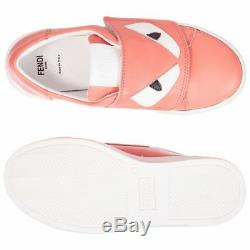 NEW Fendi girls pink leather sneakers shoes logo 31 US 13