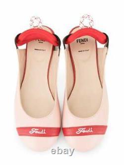 NEW Fendi girls pink red leather slingback ballerina flat sandals shoes 31 US 13