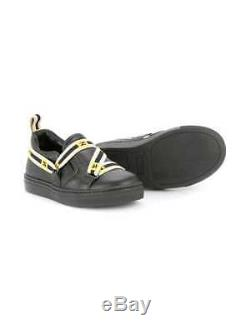 NEW Fendi kids boys girls black text logo sneakers 31 (US 13)