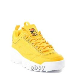NEW Fila Disruptor 2 Athletic Shoe Yellow Logo Tape Big Kid YOUTH Womens