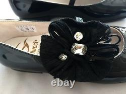 NEW GALLUCCI Italy GIRLS PATENT BLACK LEATHER JEWELLED SHOES SZ 32 UK 13 US 1