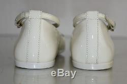 NEW GUCCI KIDS Girls Flats Patent Leather White Silver Horsebit Ankle Strap 28