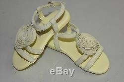NEW GUCCI Kids Girls Sandals Ankle Strap Pale Yellow Suede Rose Flower Shoes 20