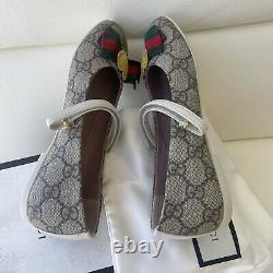 NEW Gucci Web Girls Shoes Beige GG Logo Canvas Ballet Flats Sz 32 Junior US 13.5