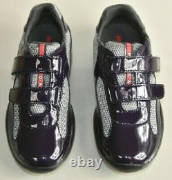 NEW Prada Child Girls Patent Sneakers Dark Purple Grey Shoes EUR 29 US 12