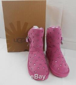 NEW UGG Girls Boots Little Big Kid size sz 3 4 Joleigh Pink Glitter Bows Short