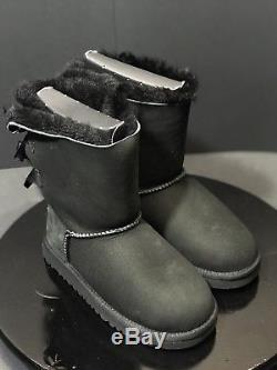 NEW Ugg Australia Kid's Girls Bailey Bow Black 3280K Suede Winter Boots Size 2