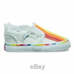 NEW Vans Slip On Blue Rainbow Toddler Infant Little Girls Kids Shoes Size 7
