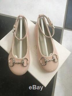 NIB 100% AUTH Gucci Kids Horsebit Powder Pink Patent Leather Flats Shoes 258021