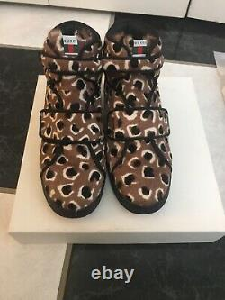 NIB 100% AUTH Gucci Kids Leopard Print Pony Hair High Top Sneakers Shoes $510