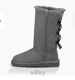 NIB $200 UGG Australia Kids Bailey Bow Tall Boots 1007309 GREY Girls size 2