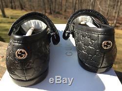 NIB $270 Gucci Child TODDLER GG BLACK Leather Mary Janes Flats Shoe 23 7-7.5 2yr