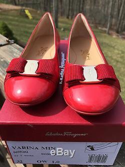 NIB$325 FERRAGAMO GIRLS Child Red Patent Mini Varina Bow Flats Shoes 1US 32EU