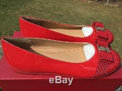 NIB $325 FERRAGAMO GIRLS Child Red Patent Mini Varina Bow Flats Shoes 1US 32EU
