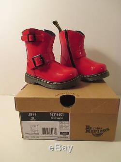 NIB DR DOC MARTENS Girls Kids Toddlers Jiffy Red Patent Leather BootsSize 5