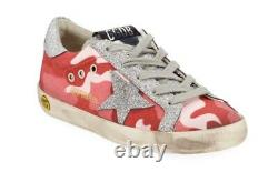 NIB GOLDEN GOOSE $295 Girls Pink Camo Sneakers Shoes 28