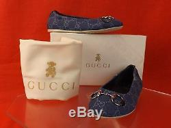 Nib Gucci Kids Girls Blue Denim Guccissima Canvas Horsebit Ballet Flats 31 13