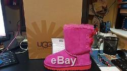 Nib Kids Girls Boot Ugg Australia Classic Bailey Bow Bloom Pink -size 1