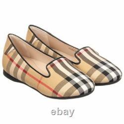 NIB NEW Burberry girls Ally black nova check ballerina shoes 27 29 10.5 12 $220+
