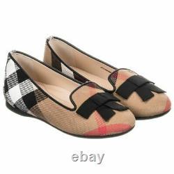 NIB NEW Burberry girls Ally black nova check ballerina shoes 27 29 30 10.5 12