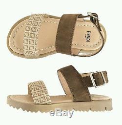 NIB NEW Fendi kids boys girls unisex brown zucca logo sandals 32 US 1