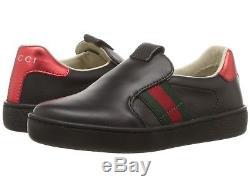 NIB NEW Gucci Ace kids boys girls black leather sneakers slip on 29 32 1 477540