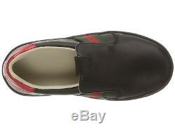 NIB NEW Gucci Ace kids boys girls black leather sneakers slip on 32 1 477540