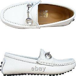 NIB NEW Gucci boys white or black drivers shoes horsebit 28 29 257765