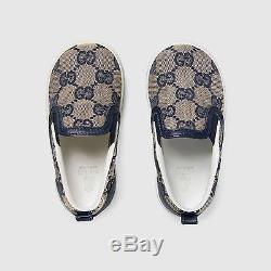 NIB NEW Gucci kids boys girls GG logo canvas slip on sneakers 26 US 10