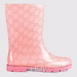 NIB NEW Gucci kids boys girls GG rain boots blue or brown 20 21 24 25 26 261497