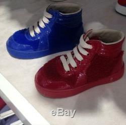NIB NEW Gucci kids boys girls red blue felt high tops shoes 23 24 8 26 10 356074