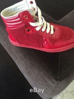 NIB NEW Gucci kids boys girls red felt patent high tops shoes 31 13 356075