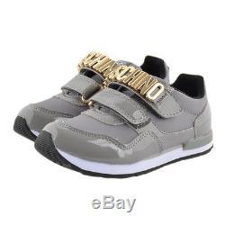 NIB NEW Moschino kids boys girls gray sneaker shoes logo 31 US 13