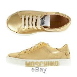 NIB NEW Moschino kids girls gold leather sneakers shoes logo 31 US 13