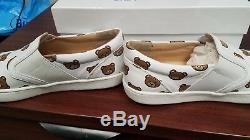 NIB NEW Moschino kids girls white teddy bear leather sneakers shoes logo 36 US 4