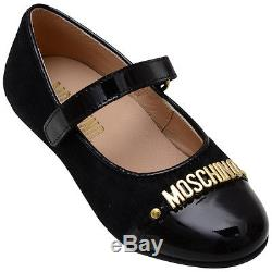 NIB NEW Moschino kids toddler girls black ponyskin mary janes shoes 26 US 10