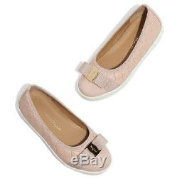 NIB NEW Salvatore Ferragamo Mini Rufina pink girls ballet sneakers shoes 32 US 1