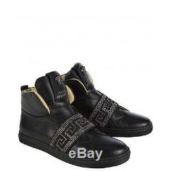 NIB NEW Young Versace kids boys girls black white studded sneakers shoes 26